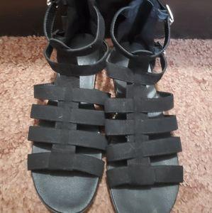 Black zip-up sandals